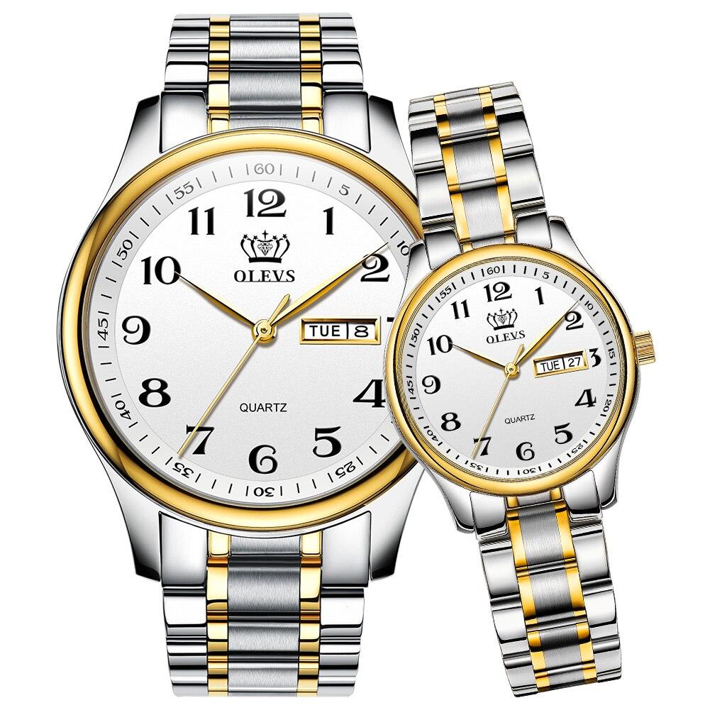 OLEVS Lovers Watches Luxury Quartz Wrist Watch For Men And Women  Calender Week Steel Saat Reloj Mujer Hombre Couple Watch