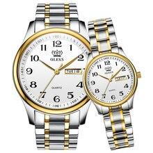 OLEVS severler saatler lüks kuvars kol saati erkekler ve kadınlar için takvim hafta çelik Saat Reloj Mujer Hombre sevgili saati
