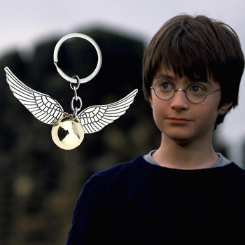 Movie Jewelry The Golden Snitch Keychain Bronze Color Vintage Style Angle Wings  Keyring - discount item  10% OFF Fashion Jewelry