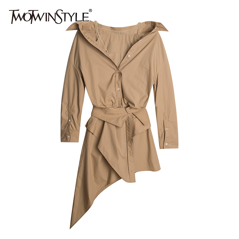 TWOTWINSTYLE Casual Asymmetrical Dress For Women V Neck Long Sleeve Tunic Mesh Irregular Hem Dresses Female 2020 Summer Fashion