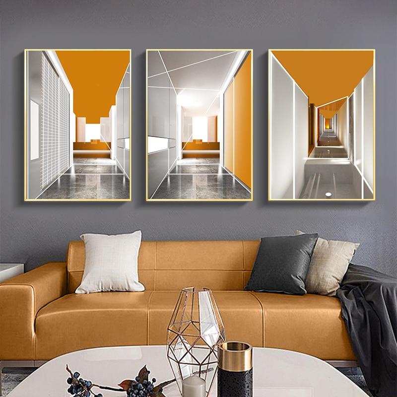 Laranja geométrico edifício lona cartaz da arte da parede abstrata pintura nordic impressão fotos de parede para sala estar moderna decoração casa