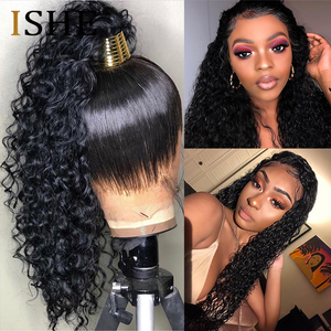Image 1 - 360 Lace Frontal Wigs Curly Human Hair Wigs HD Transparent Lace Frontal Wigs Pre Plucked Bleached Knots Wigs For Black Women