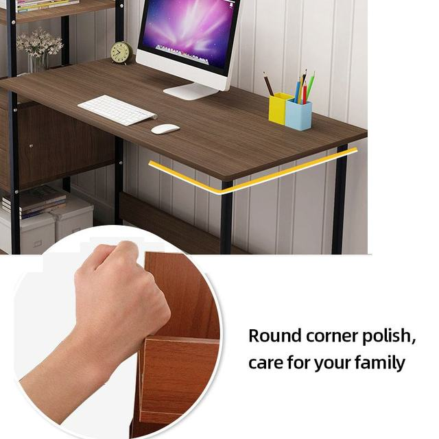 Computer Desk w/  Bookshelf Workstation 4