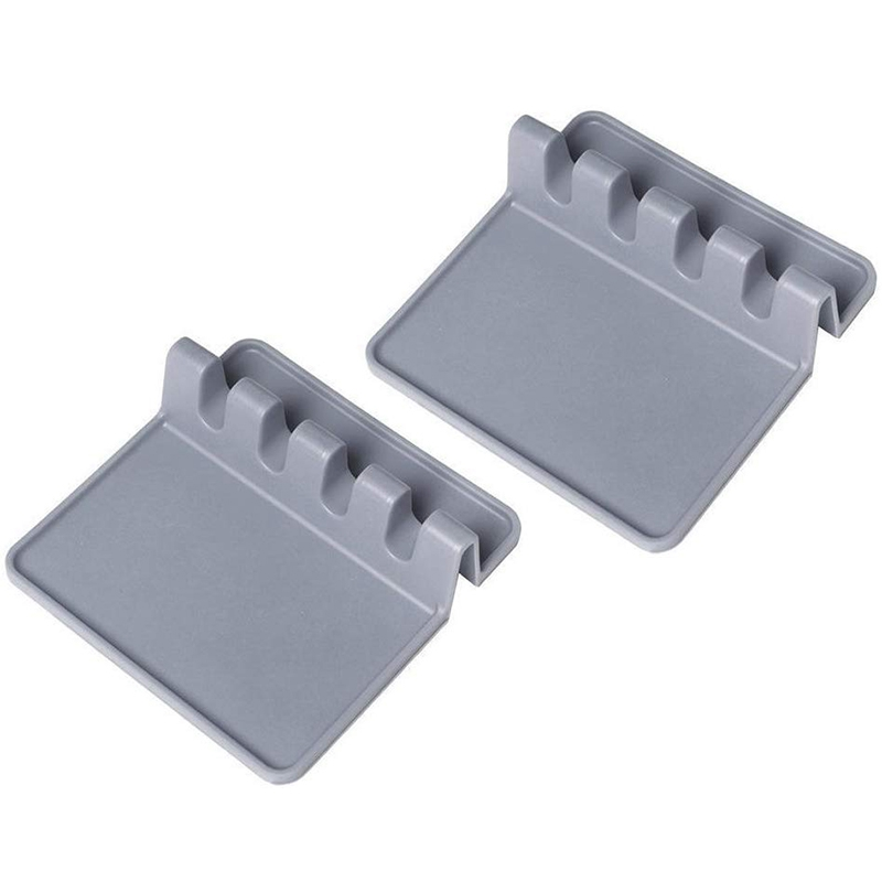 Silicone Spoon Rest Kitchen Utensil Rest Ladle Spoon Holder For Kitchen Counter Or Stove Top 2 PCS(Gray)