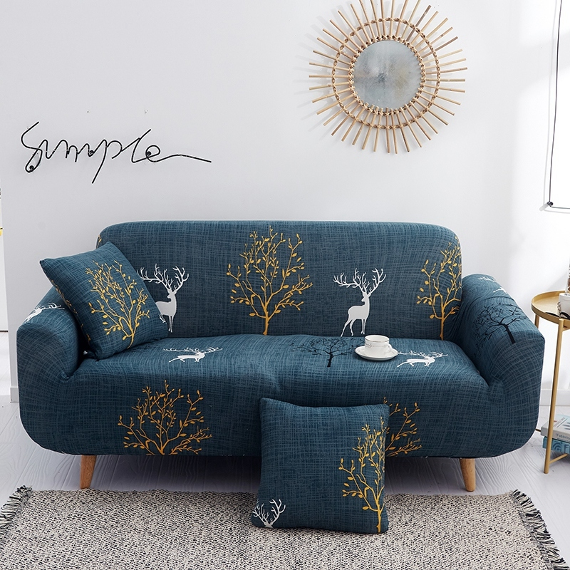 Stretch Sofa Slipcover 1-Piece Polyester Spandex Fabric Couch Cover Chair Loveseat Furniture Protector Covers 1/2/3/4/ Seat Sofa