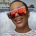 Diamant Sqaure Sonnenbrille Frauen Strass Übergroßen Sonnenbrille Männer 2020 Luxus Marke Brillen Retro Brille Ein Stück Sonnenbrille