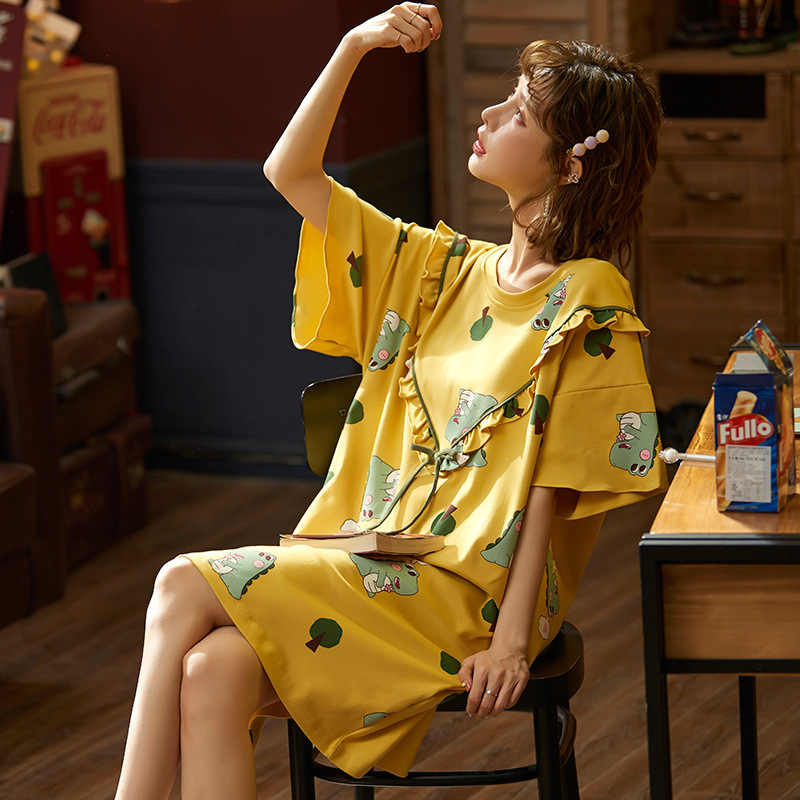 2020 New Spring Summer Nightdress Lovely Women's Sleepwear Soft Cotton Casual Home Wear Cartoon Ladies Nightwear Big Size Pijama 23