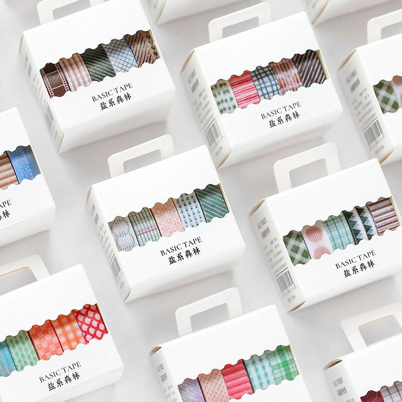 5 Pcs/set Salt Forest Basic Geometric Pattern Washi Tape Set Scrapbooking DIY Bullet Journal Masking Tape Sticker Stationery