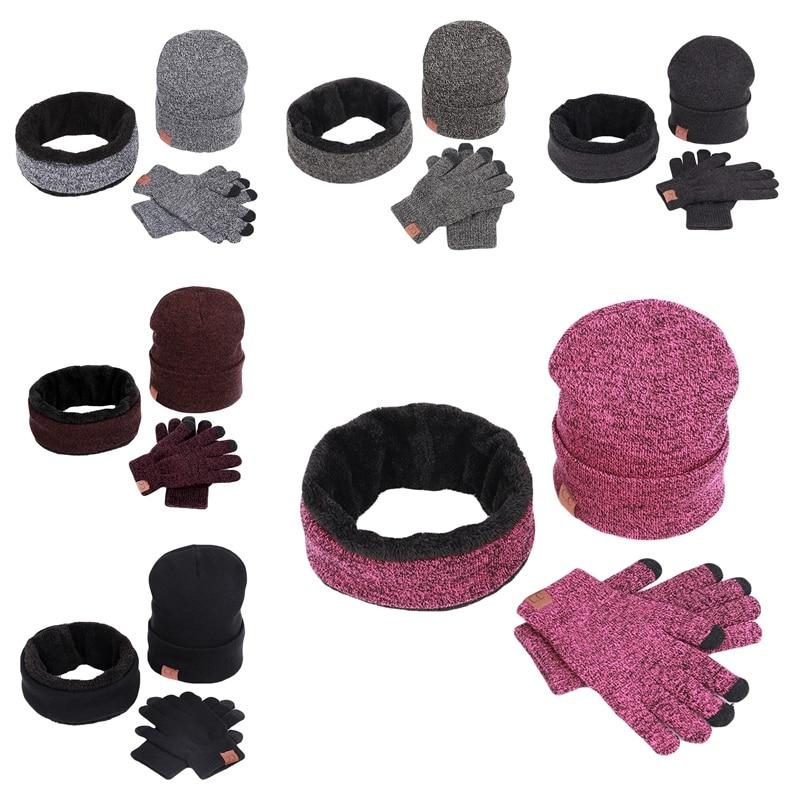 3pcs/set Winter Slouchy Beanie Hat Scarf Neck Warmers Gloves Set Warm Clothing Set Outdoor Sportwear Men Women Ski Set