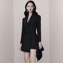 Double Breasted Blazer Dress With Belt Women Slim Fit Party Long Sleeve Fashion Elegant Office Ladies Work Female Short Dresses(China)