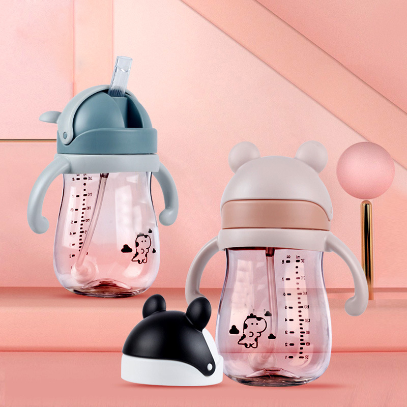 Kids Children Cute Mickey  BPA Free School Drinking Water Straw Bottle Straw Sippy Baby Cup With Handle240ml/300ml