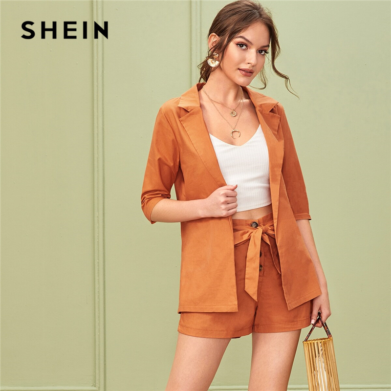 SHEIN Solid Notched Neck Elegant Blazer With Belted Shorts Suit Set Women Outfits 2019 Autumn Office Ladies Two Piece Sets