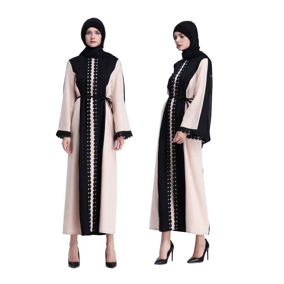 Muslim Dress Abaya Caftan Hijab Dress Patchwork Black Cardigan Robe Arabic Ramadan Kaftan Moroccan Vestidos Islamic Clothing