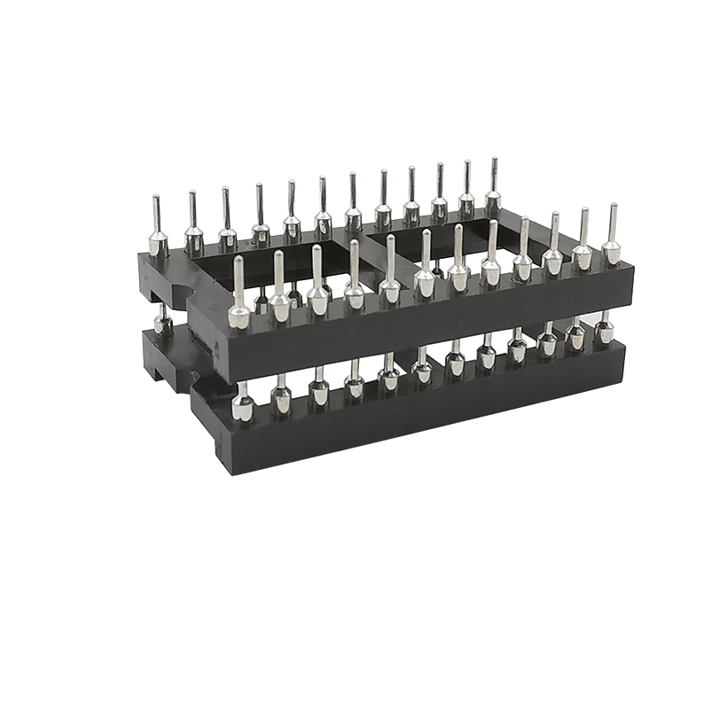 uxcell 10pcs 2.54mm Pitch 15.24mm Row Pitch2 Row 28 Round Pins Soldering DIP IC Chip Socket Adaptor