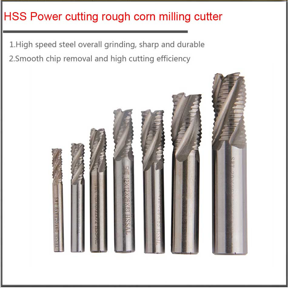 фрезер 6 8 10 <font><b>12</b></font> <font><b>16</b></font> 20 25 30 40mm High speed steel integral grinding rough processin Rough leather knifeg corn milling cutter image
