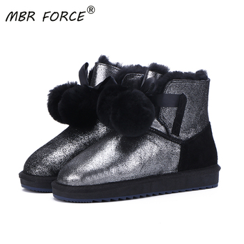 MBE FORCE Classic Cowhide Leather Wool Shearling Lined Women Short Winter Boots Pom-pom Style Ankle Snow Boots Shoes Pink Black aiyuqi genuine leather female winter boots full cowhide waterproof wool lined fashion women booties female bare black boots