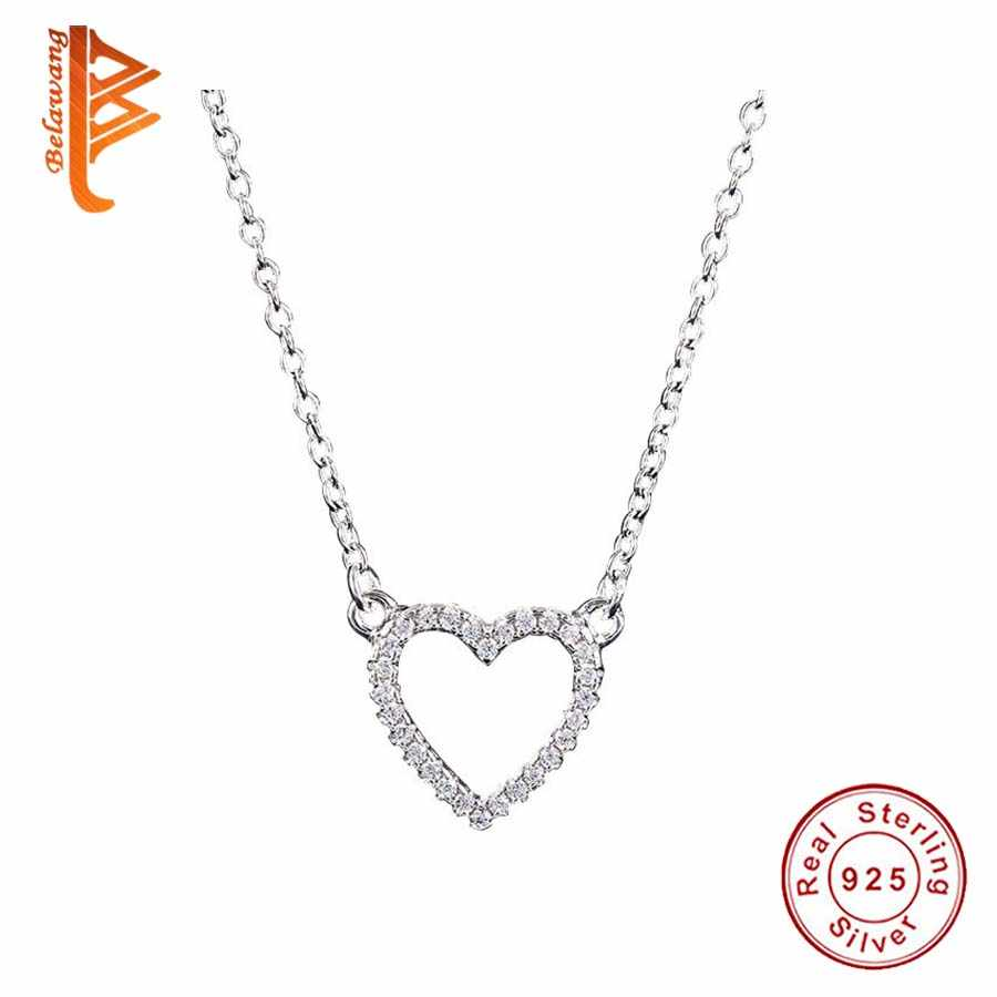 Genuine 925 Sterling Silver Austrian Crystals Heart Pendant Necklace for Women European Fashion Jewelry Bijoux Gift