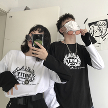 hip hop vintage Print brand Fake two Patchwork Men T shirt Long Sleeve rock Couple Clothes White Funny oversized streetwear 2019