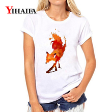 цены на Women T-shirt 3D Print Stylish Colorful Fox Graphic Tee Casual Lady Summer White T shirts Fashion Unisex Short Sleeve Tops  в интернет-магазинах