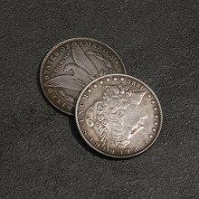 1 pçs 1888 aço morgan dólar truques mágicos (3.8cm de diâmetro) moeda comemorativa adereços pode ser sugado ilusão aparecendo/desaparecendo