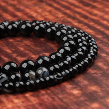 Fashion jewelry 4/6/8/10/12mm Black Striped Agate suitable for making jewelry DIY bracelet necklace