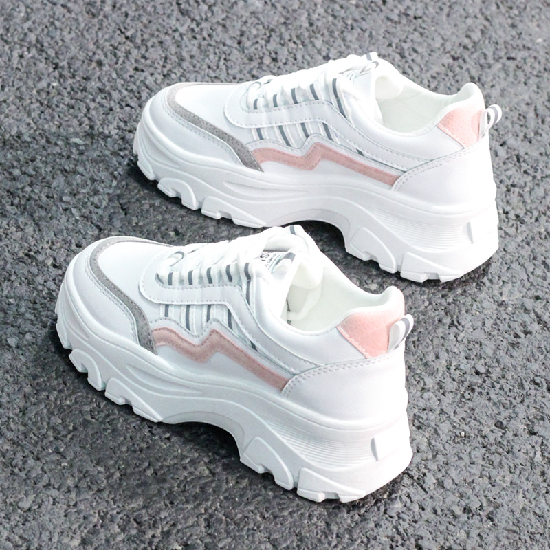 2019 New Fashion Chunky Sneakers Women Platform High Heel Thick Sole Dad Beige Black White Sneaker Casual Shoes Chaussures Femme