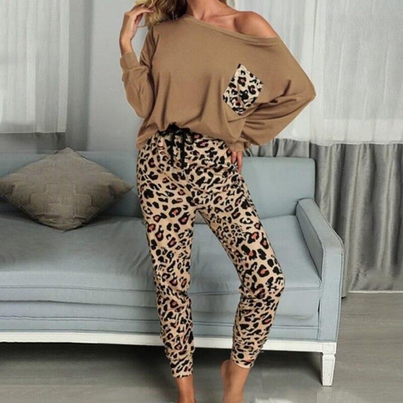 Женские леопардовые костюмы для дома, Осенние повседневные футболки и спортивные штаны на шнуровке, одежда для отдыха, модные пижамные комп...