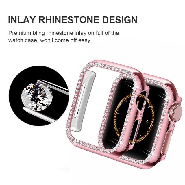 Diamond Band + case For Apple Watch 40mm 44mm 38mm 42mm iWatch series 5 4 3 2 1 bracelet apple watch stainless steel strap women 2