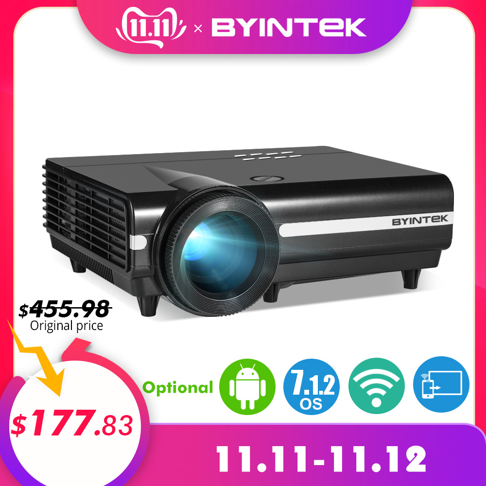 Byintek lua bt96plus android wi fi vídeo inteligente 1080 p led projetor para hd completo suporte de cinema em casa 4 k vídeo para netflix