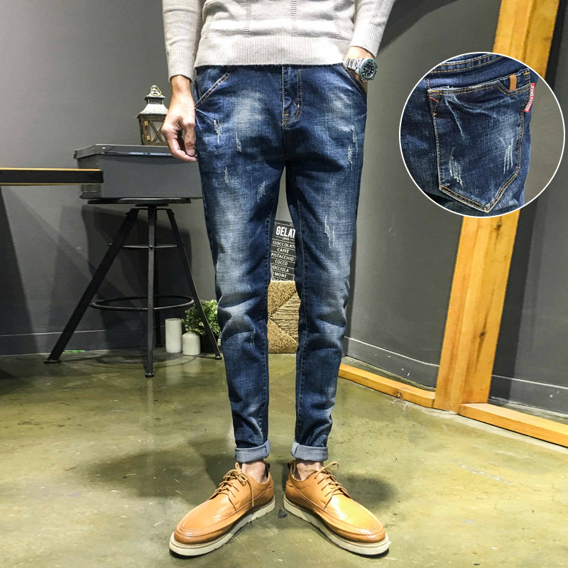 Autumn And Winter Men Korean-style Blue Jeans Men's Trend Versatile Slim Fit Trousers Elasticity Youth Casual Skinny Men's Trous