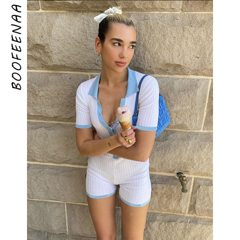 BOOFEENAA 2020 Summer White Ribbed Fitted Jumpsuit Women Single-Breasted Short Sleeve Cute Sexy Playsuit Romper C83-AD94