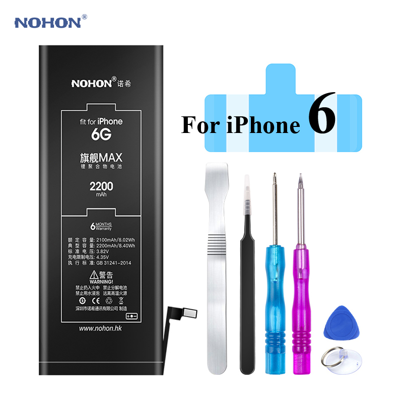 Original NOHON Battery for Apple iPhone 6 6G iPhone6 2200mAh Replacement High Capacity Phone Bateria with Free Tools Kit sticker