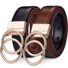 بلتوكس النساء عكسها حزام جلد 2 في 1 استدارة 2 خواتم الذهب مشبك 3.4 سنتيمتر واسعة