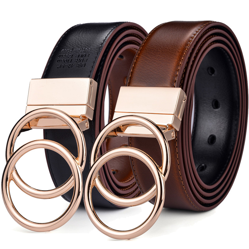 "Beltox Unisex Belt Leather 1.3"" Reversible 2 In 1 Rotated 2 Rings Gold Buckle Belts For  Women And Men"