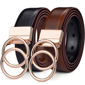 Image 1 - Beltox Women Reversible Leather Belt 2 in 1 Rotated 2 Rings Gold Buckle 3.4cm Wide