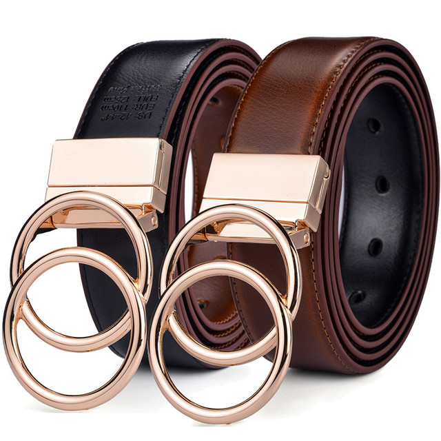 Beltox Women Reversible Leather Belt 2 in 1 Rotated 2 Rings Gold Buckle 3.4cm Wide