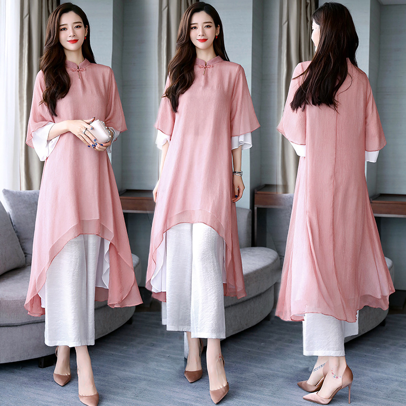 Long Sweater Loose Pants 2019 Spring-Style Simple Cool Set/Suit Skirt Chinese-style Gauze
