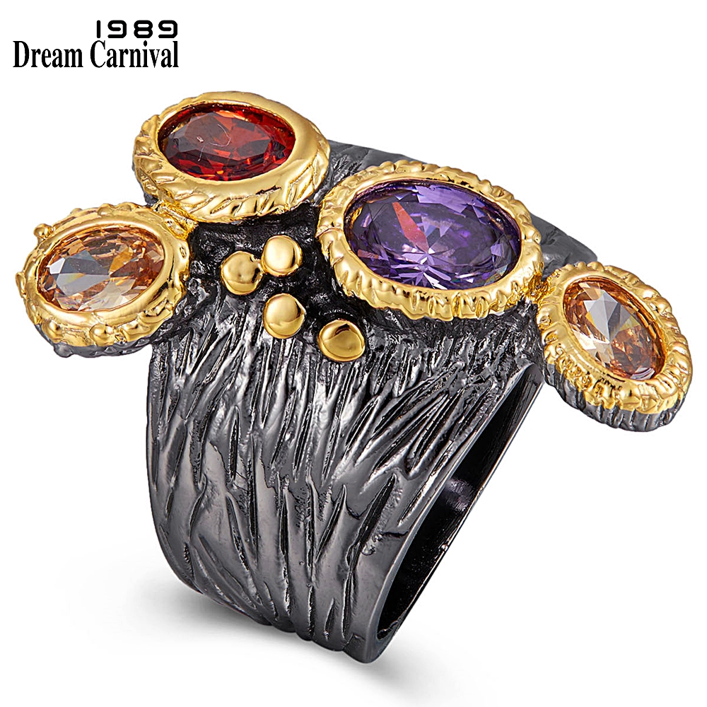 WA11781 DreamCarnival1989 Creative Multi-Colors Cubic-Zirconia-Ring for Women Black-Gold Gothic Rings Amazing Price Hot Pick (1)