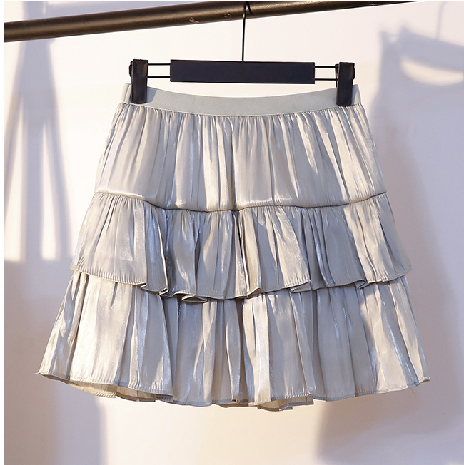 Korean Sweet Layered Mini Skirt Black White Beige Gray Skirts Womens Fashion Summer Short Skirt Ruffle 2020 Womens Clothing