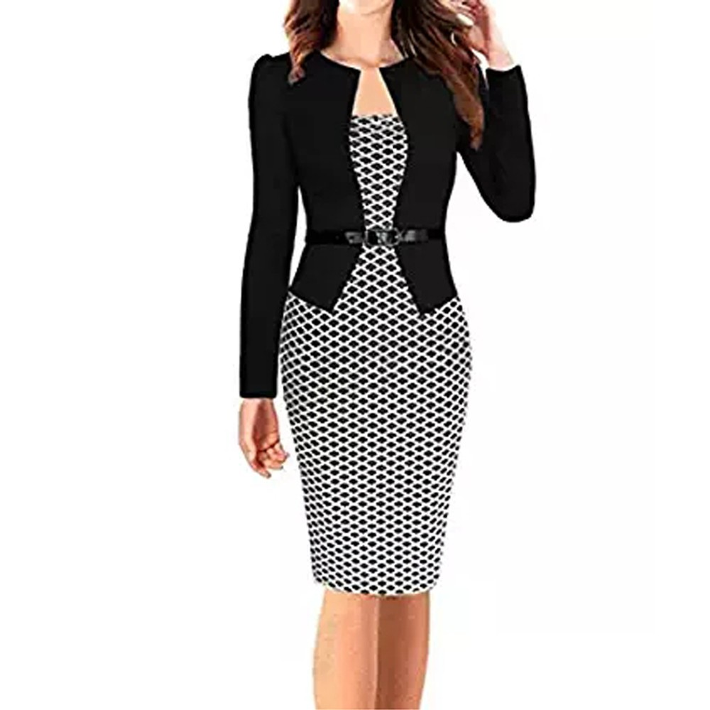 Hxroolrp 2020 New Style Women Colorblock Plaid Wear To Work Business Party One-piece Sash Dress High Quality Summer F1