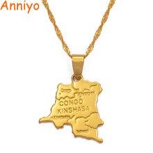 Anniyo, Корейская Республика, небольшая карта, золотой цвет, DRC, подвеска, ожерелье, цепь 45 см/60 см, ювелирные изделия для женщин, девушек#201610