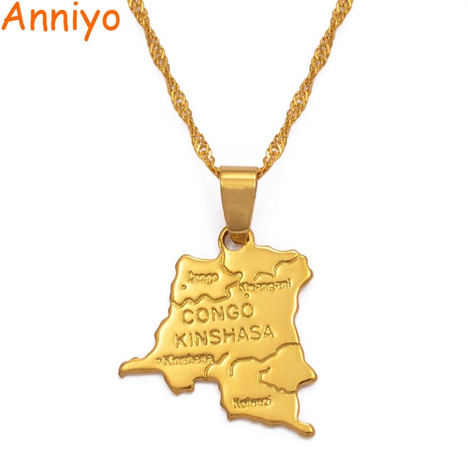 Ожерелье-подвеска Anniyo, с маленькой картой, золотого цвета, с цепочкой, 45 см/60 см, для женщин и девочек #201610