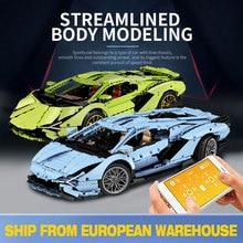 En stock MOC Lamborghinis Aventador Sian FKP 37 voiture RC Roadster modèle puissance fonction blocs de construction briques jouets techniques cadeaux