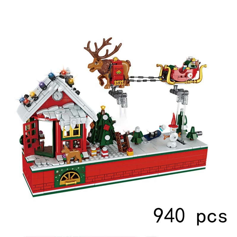 2020 строительные блоки для Детского конструктора: зимняя деревня, праздничная сцена, пряничный домик, Санта-Клаус, кирпичи, игрушки, подарок ...