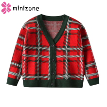 лучшая цена Kids Sweaters Autumn Plaid Girls Cardigan Knit Baby Boy Clothes Fall Toddler Tops Fashion 2019 New Children Warm Winter Sweater