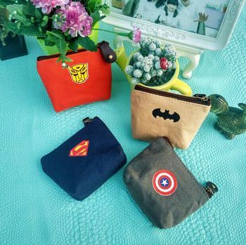 Creative Hero Canvas Change Wallet Mini Key Bag Personality  Small Zipper Coin Bank Card Storage Child Boys Girl Gift - discount item  29% OFF School Supplies