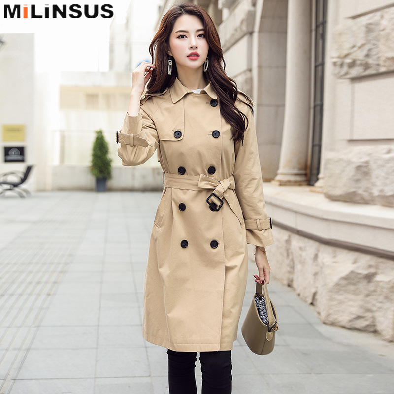 Spring Autumn New Long Trench Coat Women Khaki Double Breasted Adjustable Waist Casual Streetwear Coats Female Plus Size Clothes