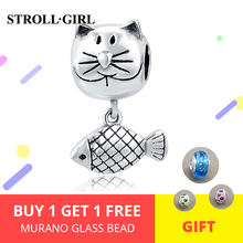 Cat&Fish Charm Fit Authentic Animal Charms European bracelet Fashion DIY 2018 New Arrival Hot Selling Sterling Silver