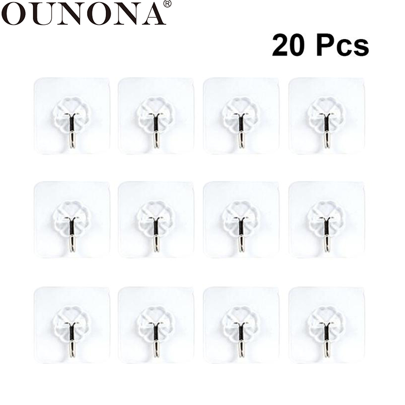 OUNONA 20PCS Wall Hooks Adhesive No Nail Heavy Duty Wall Hanging Hanger Reusable Towel Bath Utility Ceiling Hooks Key Coat Hook
