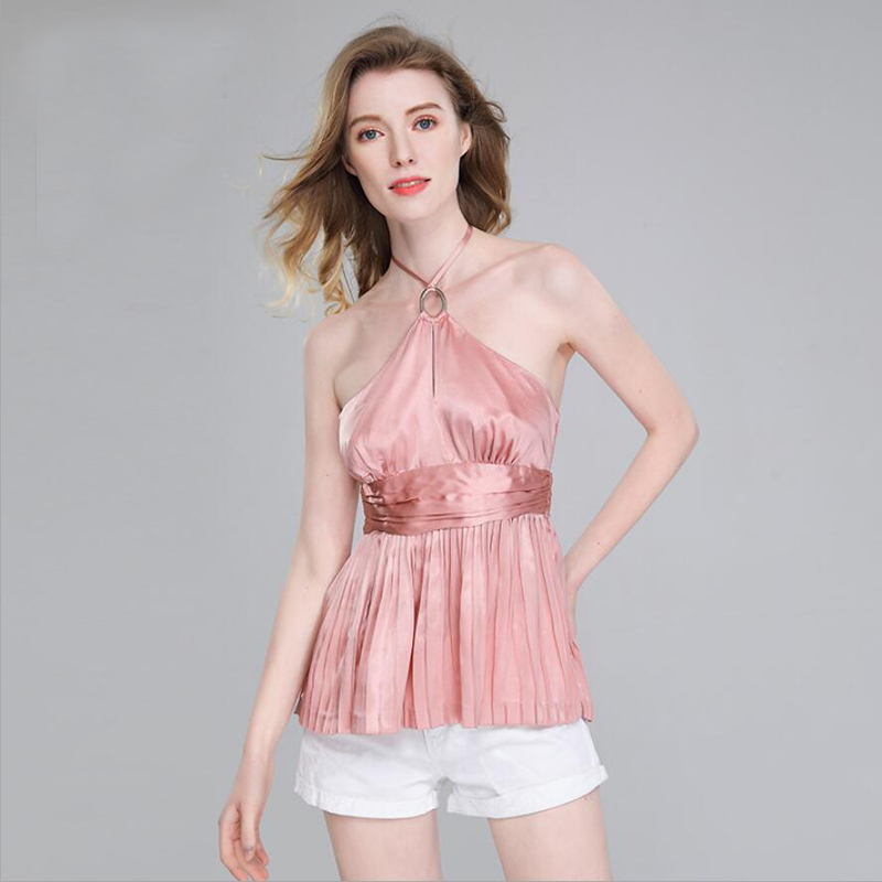 Bogeda New Summer Silk Camisole Women Backless Fashion Halter Vest 100 Silk Blouse Sexy Club Party Pure Silk Tank Tops Lady Wear
